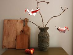 Read and White Origami Cranes from hand Edson Chagas Print