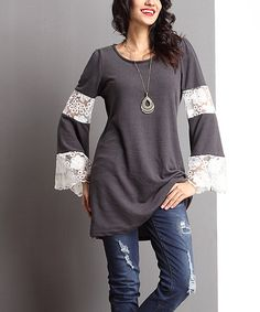 Look at this Charcoal Lace Bell-Sleeve Tunic on #zulily today!