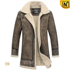 CWMALLS® Lincoln Vintage Printed Sheepskin Coat CW838001 - Vintage printed sheepskin coat for men, crafted from ecological sheepskin shearling materials with vintage printed patterns on it, designed in long trench coat style to protect you from the severe cold. This retro sheepskin coat will make you distinctive from others definitely!