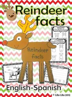 Reindeer Facts Fold and Learn. English-Spanish science craftivity