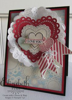 Lots of layers in Elizabeth's lovely card! It features Hearts a Flutter & its framelits, Itty Bitty Banners, More Amore dsp, & Tea Lace Paper Doilies.