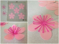Risultati immagini per flower party silhouette cameo Paper Flower Wreaths, Giant Paper Flowers, Diy Flowers, Flower Petals, Pink Crafts, Flower Crafts, Paper Crafts, Preschool Crafts, Diy Crafts For Kids