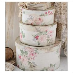 Gorgeous round paper-mache boxes in 3 different sizes. All are covered with…