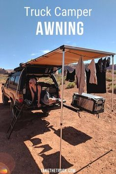 Choosing the best truck camper awning can be difficult, and often the ideal solution is a rear awning for truck bed camping. We share how we installed the PERFECT rear awning for our truck camping and overland travel adventures. Best Truck Camper, Slide In Truck Campers, Best Trucks, Small Truck Camper, Truck Flatbeds, Truck Tent, Pickup Camper, Truck Shells, Truck Camper Shells