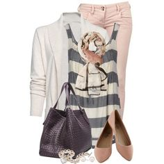 """""""Striped Tank and Cardigan"""" by brendariley-1 on Polyvore by jean"""