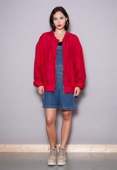 Vintage 80's Red Pure Silk Unisex Bomber Jacket XL