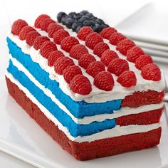Red, White and Blue Cake: Celebrate the with a patriotic cake of red and blue tinted layers, whipped topping and berries. Holiday Treats, Holiday Recipes, Holiday Desserts, Holiday Decor, Delicious Desserts, Dessert Recipes, Fun Recipes, Frosting Recipes, Sweet Desserts