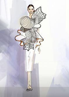 Fashion Illustration Ideas Shenkar graduate Noa Raviv's printed collection shows Israel's innovative side Illustration Mode, Fashion Illustration Sketches, Fashion Sketches, Fashion Design Sketchbook, Fashion Design Portfolio, Fashion Figures, Sculptural Fashion, Mode Style, Fashion Art