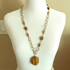Necklace Gold circle link necklace with brown gemstone detail Jewelry Necklaces