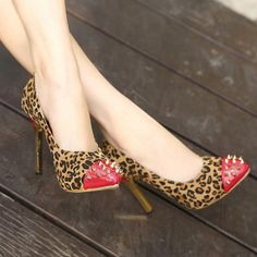 Glamorous Leopard Print PU Pointed Closed Toe Stiletto Super High Heel Basic Pumps Crystal Jewelry, Silver Jewelry, Super High Heels, Pointed Toe Heels, Kitten Heels, Fashion Jewelry, Glamour, Pumps, Crystals