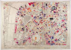 handcoloured colour-coded map depicting WWII bomb damage (1940 Blitz-1945) to London's Waterloo & Elephant and Castle area south of the River Thames, from London County Council / London Metropolitan Archives