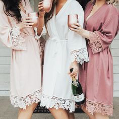 These lace bridesmaid robes are a unique bridesmaid gift and gift for the bride. Lace bridesmaid robes are gorgeous for getting ready photos and perfect for not ruining hair and makeup on your wedding day! Wedding Day Robes, Bridal Party Robes, Bridal Party Shirts, Bridal Parties, Wedding Favors, Gifts For Wedding Party, Bridal Dresses, Wedding Ideas, Bridesmaid Gifts Unique