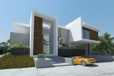 facade of boxes, white render with Timber detailing Villa Design, Facade Design, Modern House Design, Exterior Design, Facade Architecture, Residential Architecture, Contemporary Architecture, Ultra Modern Homes, Modern Mansion