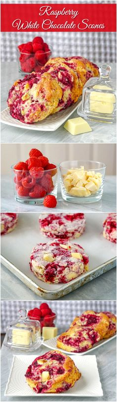 Raspberry White Chocolate Scones. Many fans of this recipe say these are the most delicious scones they've ever tasted. They have become a regular, must-have weekend brunch item for many people who've tried them. #sundaymorning #sundaybrunch #weekend #brunch #breakfastrecipes #breakfast #mothersday #mothersdayidea #valentinesday