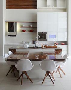 Evviva Bertolini abre flagship no Rio - Radar Decoração Dining Nook, Dining Table In Kitchen, Kitchen Sets, Open Kitchen, Kitchen Interior, Kitchen Design, Happy House, Home And Living, Home Kitchens