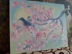 Картины цветов ручной работы. Пение птиц на цветущей сакуре, масло. Сказочный мир (Наталья). Интернет-магазин Ярмарка Мастеров.