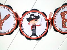 Pirate Theme Birthday Party Banner - Kid Birthday Party - Pirate Banner. $25.50, via Etsy.
