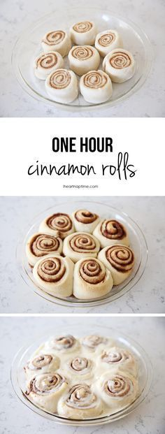 One hour cinnamon rolls on iheartnaptime.com -super soft, absolutely delicious and only takes half the time!