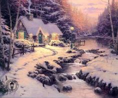Thomas Kinkade painting of home in winter beside flowing river, and surrounded by a forest.
