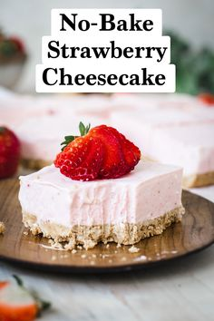 No-bake recipes are perfect for those warmer spring days that slide into the steamy summer, when turning on an oven, even if to bake is frowned upon. These slightly sweet and chilled No-Bake Strawberry Cheesecake Bars has a smooth rich cheesecake layer with a packed buttery graham cracker crust. #NoBakeStrawberryCheesecakeBars #CheesecakeBars #SpringDessertRecipes #EasterDessertRecipes Jello Desserts, No Bake Desserts, Easy Desserts, Strawberry Cheesecake Bars, Strawberry Desserts, Spring Recipes, Easter Recipes, Delicious Fruit, Delicious Recipes