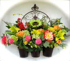 Large Silk Floral Door or Fence Arrangement in by NaturesTrueArt