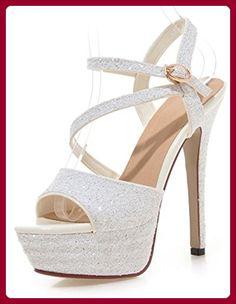 3855aa3f7d57c4 Aisun Damen Fashionable Knöchelriemchen Pailletten Stiletto Peep-Toe  Sandalen Weiß 41 EU - Sandalen für frauen ( Partner-Link)