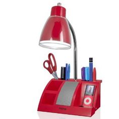 iHome iHL24-03 Colortunes Desk Organizer Speaker Lamp with iPod Player Compartment, Red (Tools & Home Improvement)
