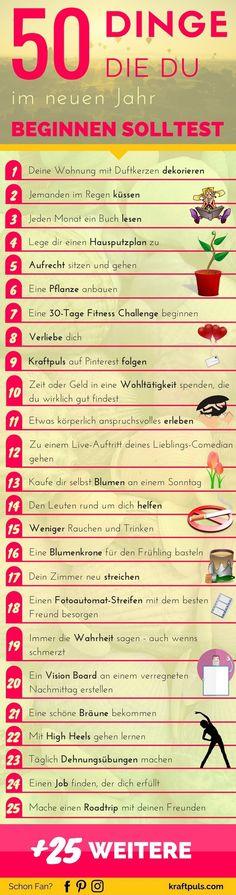 50 Dinge die du beginnen solltest! Liste zum Ausdrucken #ziele #leben mehr #sport #liebe #erfolg