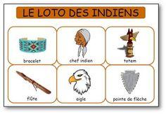 6 planches de loto des indiens à imprimer pour travailler le langage à l'école maternelle, petite section, moyenne section et grande section
