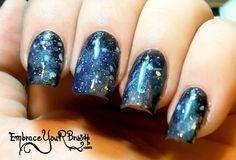 Galaxy Nails in one Minute! Tutorial:  http://www.embraceyourbrush.com/2014/04/galaxy-nails-en-1-minute-tutorial-video.html https://www.youtube.com/watch?v=R4f9iff61ss&list=UURSEJmAy0pjjE5HKd-NDE_Q