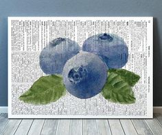 Blueberry poster Dictionary print Berries print Kitchen decor RTA2159 from OneDictionary on Etsy. Saved to Dictionary prints.