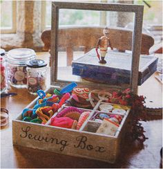 Antiqued Vintage Style Sewing Box