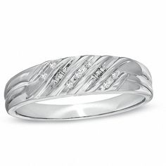 Purchase Mens Natural Diamond Multi-Groove Wedding Band In White Gold # With Free Stud Earrings from JewelryHub on OpenSky. Share and compare all Jewelry. Gold And Silver Bracelets, Sterling Silver Mens Rings, Silver Ring, Silver Jewelry, Mens Band Rings, Rings For Men, Diamond Wedding Rings, Wedding Ring Bands, Peoples Jewellers