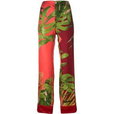 F.R.S For Restless Sleepers Floral Print Pants (€315) ❤ liked on Polyvore featuring pants, trousers, red pants, floral-print pants, red silk pants, flower print pants and multi colored pants