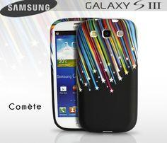 Coque Samsung galaxy-S3 Comète  Coque noire au motif ultra coloré d'une pluie d'étoiles.   En siliconne résistante elle protègera efficacement votre smartphone. Les boutons sont recouverts, les prises sont accessibles et les rebords de la façade avant sont protégés.