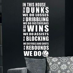 In This House We Do Basketball Wall Stickers - USD $ 29.99
