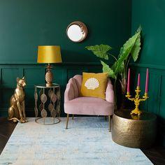 Dark Green Living Room, Dark Green Rooms, Green Living Room Ideas, Yellow Walls Living Room, Colorful Living Rooms, Green Room Colors, Colours For Living Room, Living Room And Bedroom Combo, Room Colour Ideas