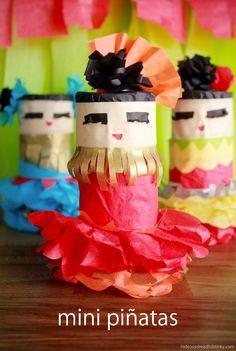 Make MINI PINATAS using tissue paper and toilet paper rolls