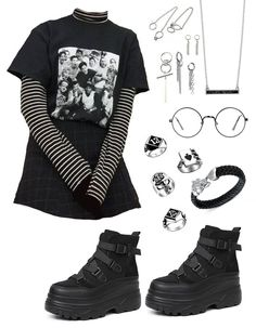 Source by clothes - Source by clothes Source by annettesbraun - Outfits Casual, Emo Outfits, Teen Fashion Outfits, Stage Outfits, Teenager Outfits, Grunge Outfits, Korean Outfits, Fall Outfits, Cute Preppy Outfits
