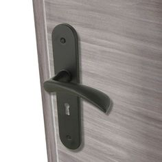 Lot 2 doorknobs Azur INSPIRE key hole, lacquered aluminum, 165 mm