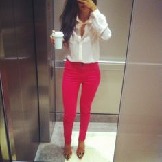 Colored skinnies, white blouse