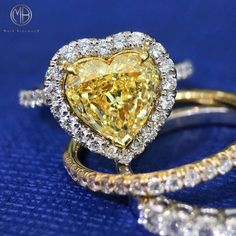 This piece is truly mesmerizing from every angle. You will cherish it forever! Heart Shaped Diamond Ring, Heart Shaped Engagement Rings, Colored Diamond Rings, Diamond Engagement Rings, Wedding Engagement, Pretty Rings, Beautiful Rings, Beautiful Hearts, Mommy Jewelry