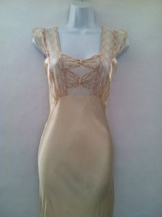 1930's nightgown with bow detailing on the front