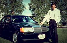 Senna and his Mercedes 190E. My hubby has this car too.