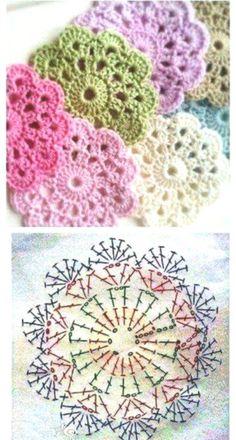 Aprende a tejer unos bonitos POSAVASOS a crochet, que también sirven como apliq. Crochet Diagram, Crochet Chart, Crochet Motif, Crochet Designs, Crochet Stitches, Crochet Baby, Free Crochet, Knit Crochet, Crochet Patterns