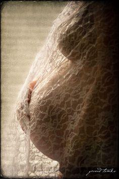 Maternity Portrait, use your wedding veil as the drape