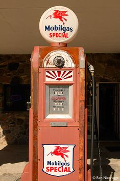 A Mobil Gas pump at the restored Cool Springs gas station along Route 66 near Kingman, Arizona (photo by Ron Niebrugge)