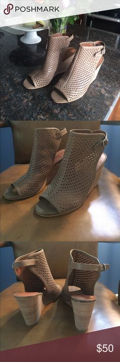 Selling this Lucky Brand tan later cut wedges on Poshmark! My username is: tessjporter. #shopmycloset #poshmark #fashion #shopping #style #forsale #Lucky Brand #Shoes
