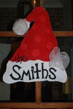 Burlap Christmas IDEAS | Burlap Door Hanger / christmas xmas ideas - Juxtapost