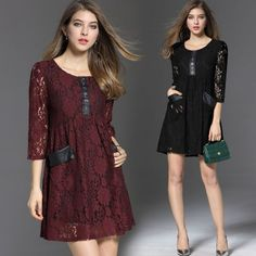 2017 Spring Women'S Fashion Elegance Round Collar Hollow Out Lace Loose Dress